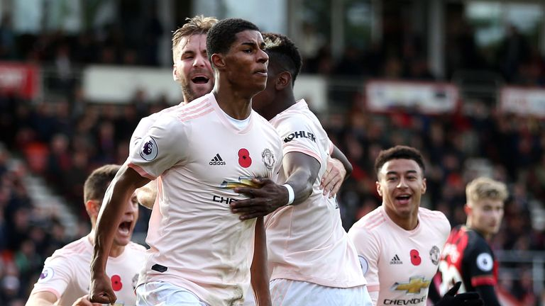 Marcus Rashford celebrates his late winner at the Vitality