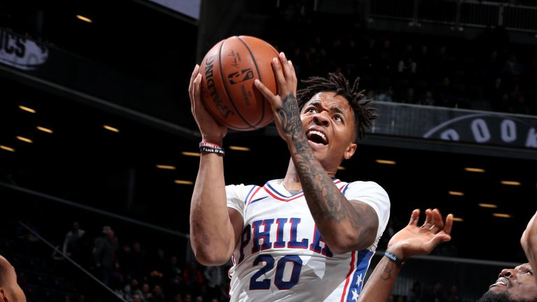 Philadelphia 76ers shooting guard Markelle Fultz with the lay-up against the Brooklyn Nets