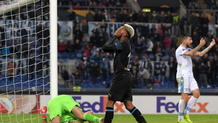 Marseille were knocked out of the Europa League at Lazio