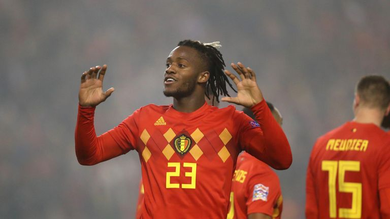 Michy Batshuayi celebrates after scoring against Iceland