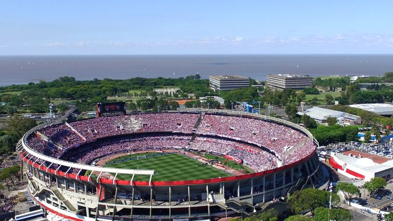 A huge crowd gathered at the Monumental Stadium ahead of the second leg of the Copa Libertadores final