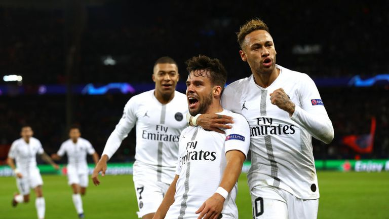 Neymar (right) celebrates with Juan Bernat after PSG's opener