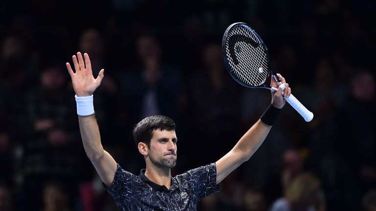 Novak Djokovic celebrates beating Germany's Alexander Zverev during their mens singles round-robin match on day four of the ATP World Tour Finals tennis tournament at the O2 Arena in London on November 14, 2018.