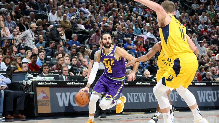 Ricky Rubio #3 of the Utah Jazz handles the ball against the Indiana Pacers on November 26, 2018 at vivint.SmartHome Arena in Salt Lake City, Utah.