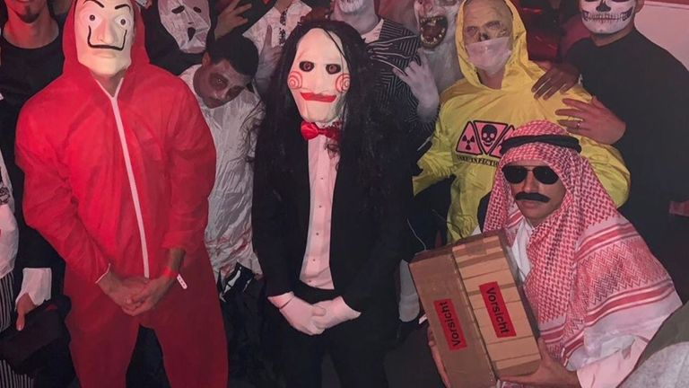 Rafinha dressed as an Arab for Halloween, and appeared to be holding a box of fake explosives