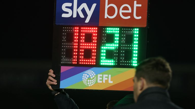 The EFL is using using bespoke sub boards and corner flags to support Rainbow Laces