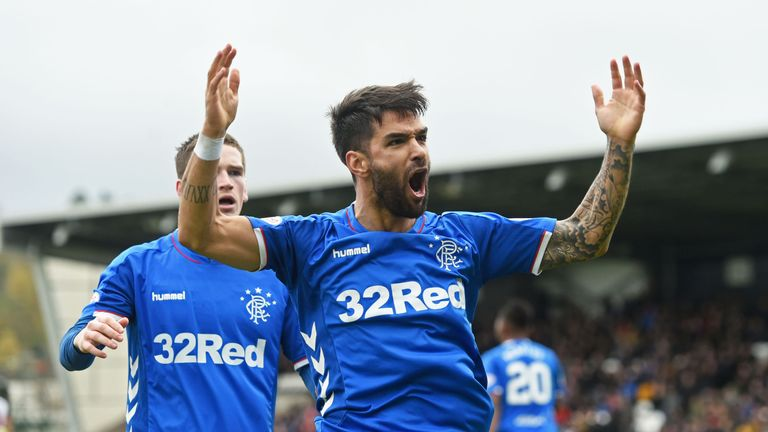 Daniel Candeias celebrates making it 1-0 at St Mirren