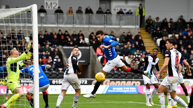 Rangers' Connor Goldson misses a chance to go ahead against St Mirren