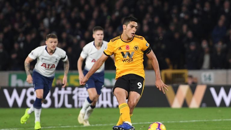 Raul Jimenez scores Wolves' second goal against Tottenham