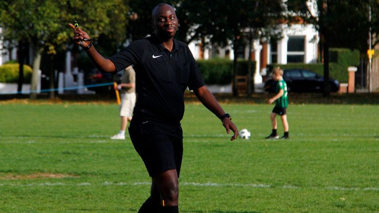 In recent months, Mashamba has been refereeing in the LGBT-friendly London Unity League