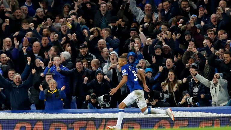 Richarlison scored twice during the game at Goodison Park