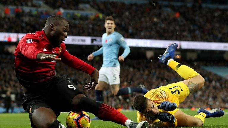 Romelu Lukaku is fouled in the penalty area by Ederson