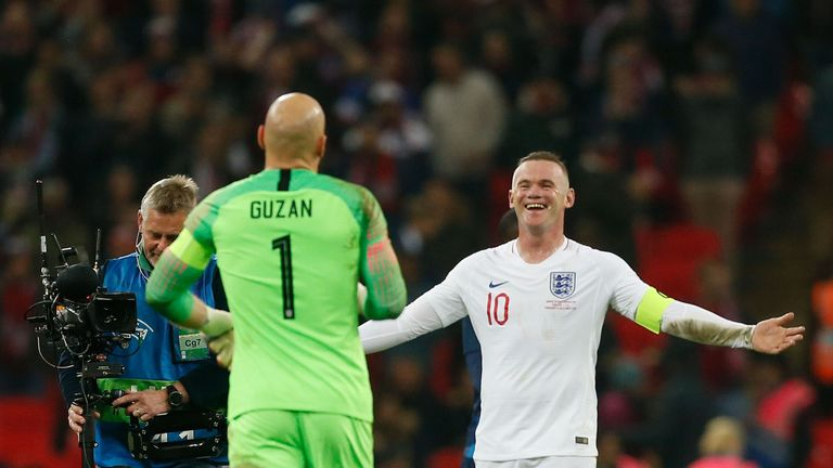 Rooney joked with USA goalkeeper Brad Guzan after the match