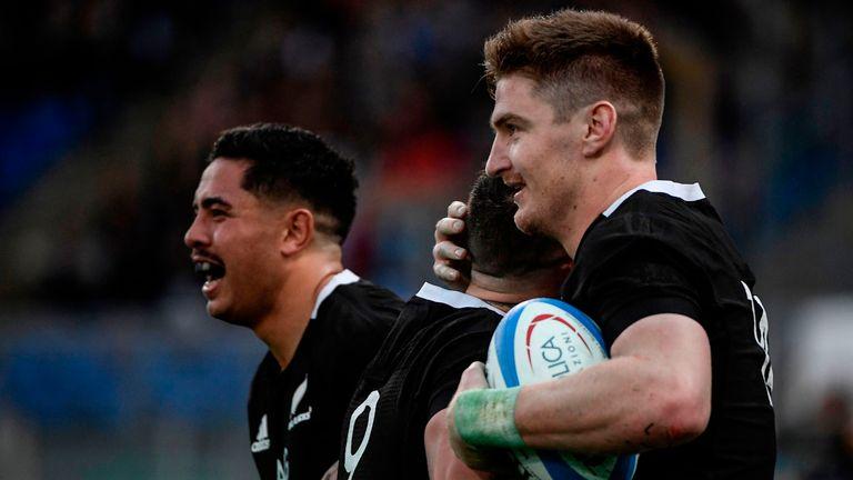 Jordie Barrett helped himself to four tries against Italy