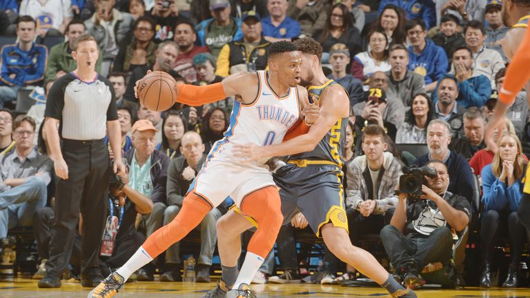 Russell Westbrook #0 of the Oklahoma City Thunder jocks for a position during the game against the Golden State Warriors on November 21, 2018 at ORACLE Arena in Oakland, California.