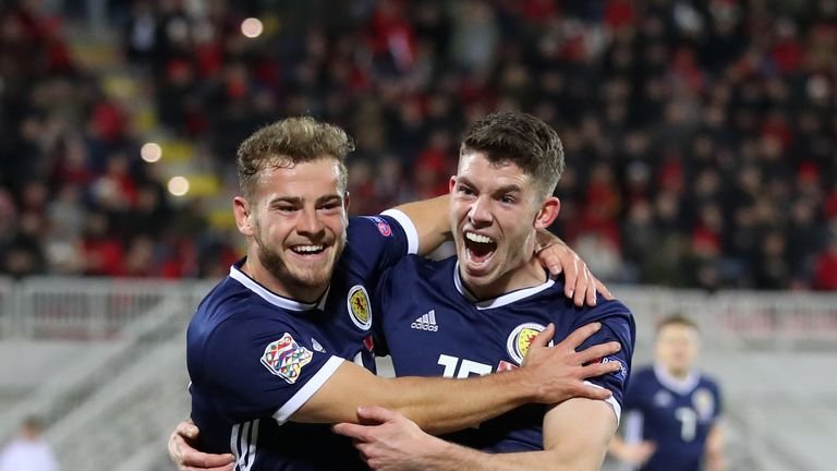 Scotland's Ryan Fraser (left) celebrates scoring his side's first goal of the game with team-mate Ryan Christie during the UEFA Nations League, Group C1 match at the Loro Borici Stadium, Shkoder