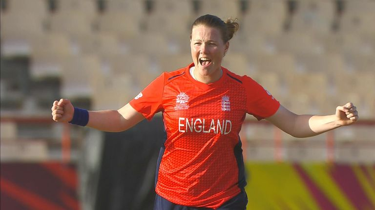 Anya Shrubsole celebrates after taking a wicket against Bangladesh in the Women's World T20.