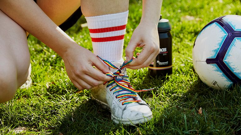 Rainbow Laces in shoes, Stonewall pic