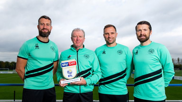 Manager Steve McClaren of Queens Park Rangers is presented with the Sky Bet Championship Manager of the Month for October , alongside his staff Matty Gardiner, John Eustace, Gavin Ward