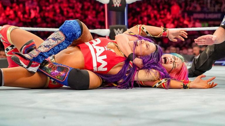 Asuka and Sasha Banks battle it out in the women's elimination match at Survivor Series