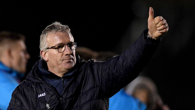 Solihull Moors manager Tim Flowers gives the thumbs-up after his side's battling draw with Blackpool