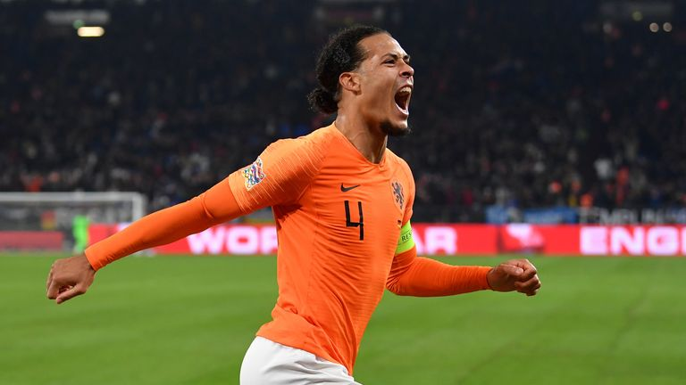 Virgil van Dijk celebrates against Germany