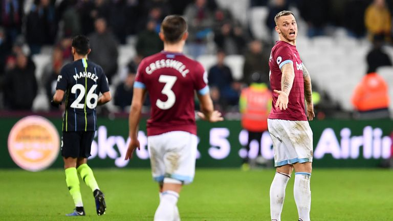 Marko Arnautovic limped from the field during West Ham's 4-0 defeat to Man City