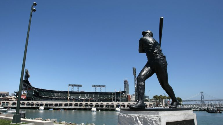 A statue of Willie McCovey adorns the cove named for him outside AT&T Park in San Francisco