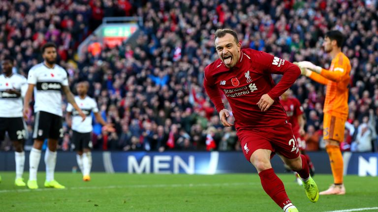 Xherdan Shaqiri celebrates his recent goal against Fulham