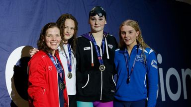 Freya Anderson (second from right) starred in Edinburgh in the pool