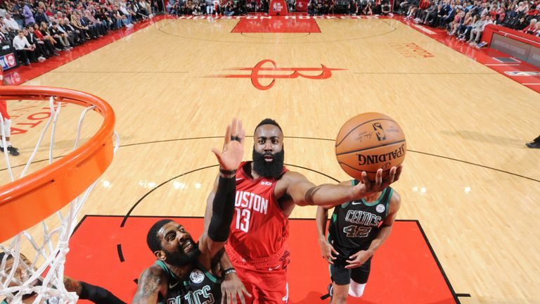 James Harden defeated Kyrie Irving to score on the edge