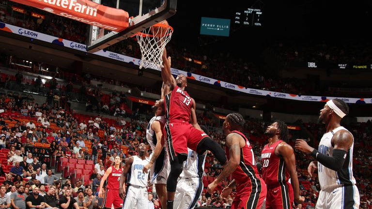Bam Adebayo #13 of the Miami Heat shoots the ball against the Orlando Magic on December 4, 2018 at American Airlines Arena in Miami, Florida.