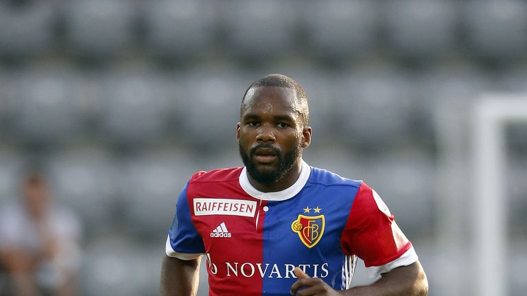 Basel's Aldo Kalulu had objects including a banana thrown at him