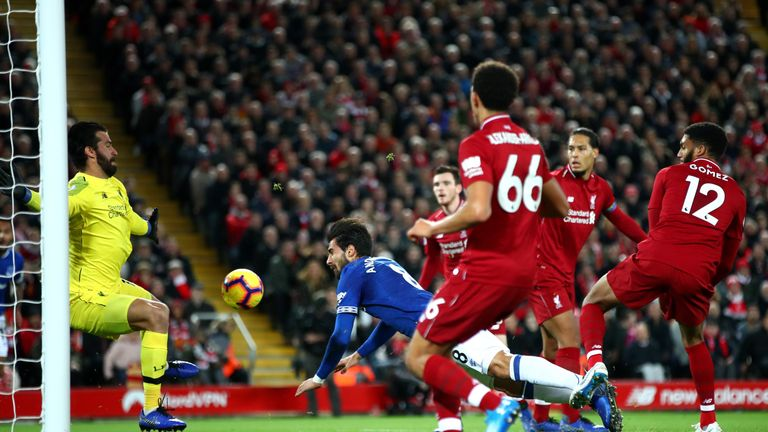 Alisson saves Andre Gomes' effort during the Merseyside derby in December