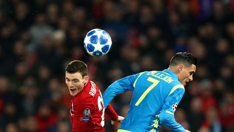Andy Robertson and Jose Callejon battle for the ball