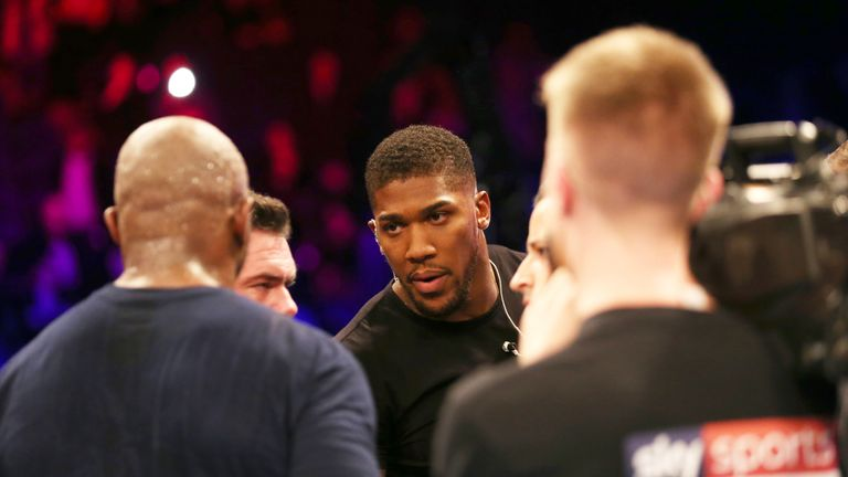 Joshua speaks with Whyte after the latter's win over Derek Chisora