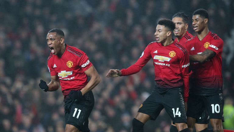 Anthony Martial celebrates his goal