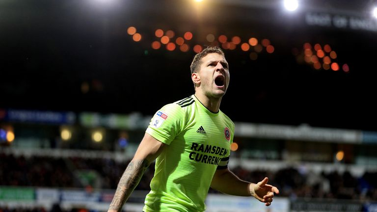Billy Sharp celebrates scoring for Sheffield United