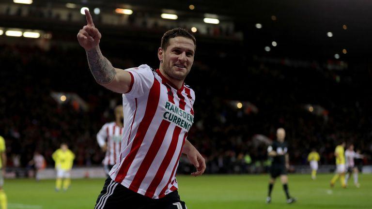 Sheffield United's Billy Sharp celebrates his opening goal