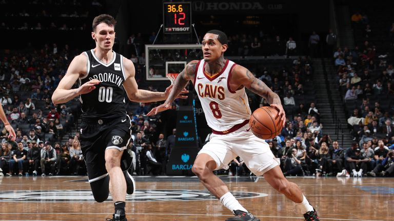 BROOKLYN, NY - DECEMBER 3: Jordan Clarkson #8 of the Cleveland Cavaliers handles the ball against the Brooklyn Nets on December 3, 2018 at the Barclays Center in Brooklyn, New York. NOTE TO USER: User expressly acknowledges and agrees that, by downloading and/or using this photograph, user is consenting to the terms and conditions of the Getty Images License Agreement. Mandatory Copyright Notice: Copyright 2018 NBAE (Photo by Nathaniel S. Butler/NBAE via Getty Images)