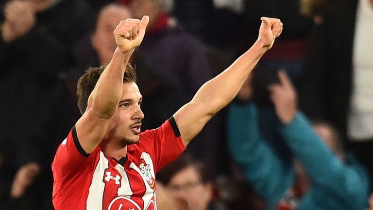 Cedric Soares' free-kick doubled Southampton's lead at 20 minutes