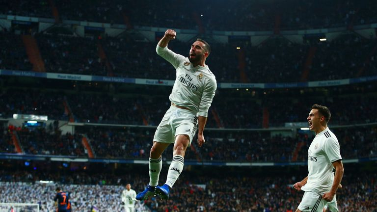 Dani Carvajal celebrates after playing a key role in the opening goal