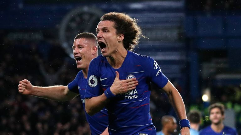 David Luiz celebrates after putting Chelsea 2-0 up against Man City in December