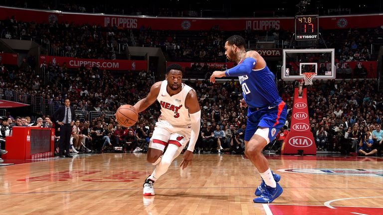 Dwyane Wade #3 of the Miami Heat handles the ball against the LA Clippers on December 8, 2018 at STAPLES Center in Los Angeles, California.