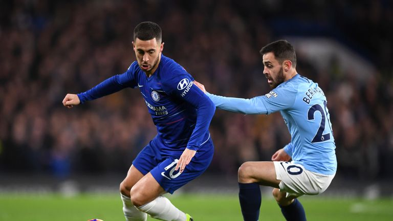 Eden Hazard takes on Bernardo Silva