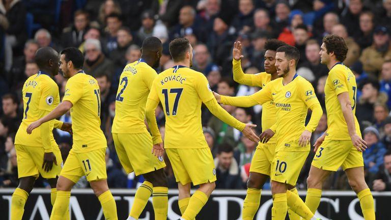 Eden Hazard celebrates putting Chelsea 2-0 up