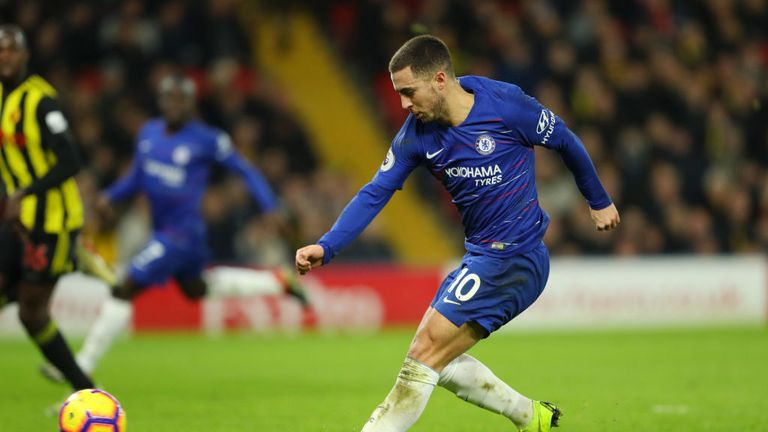 Eden Hazard tucked home his 100th Chelsea goal to give the visitors the lead