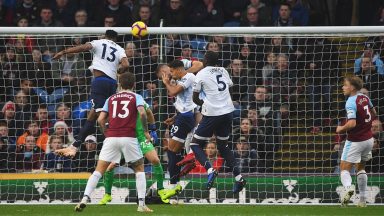 Mina heads Everton into a third-minute lead against Burnley - the club's 7000th top flight goal