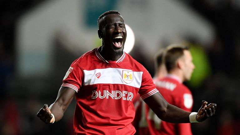 Famara Diedhiou celebrates scoring for Bristol City
