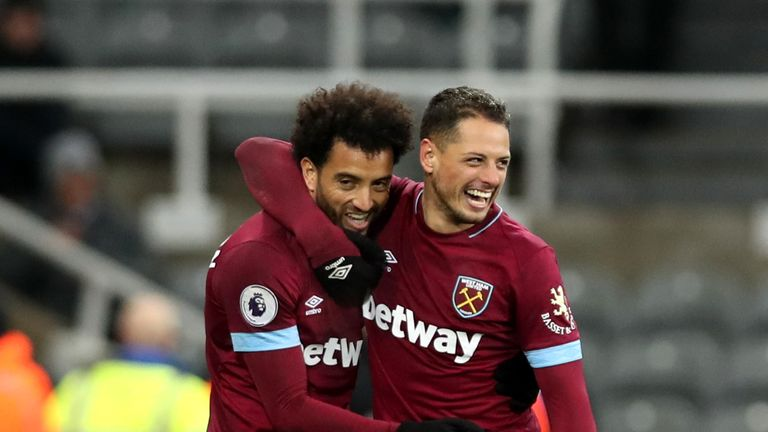 Felipe Anderson (left) and Javier Hernandez both scored for West Ham against Newcastle
